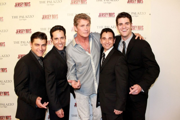Deven May, Jeff Leibow, David Hasselhoff, Travis Cloer, Peter Saide at David Hasselhoff Visits Vegas JERSEY BOYS