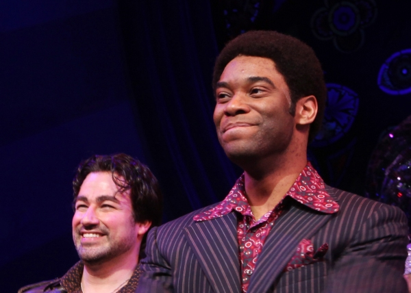 Caesar Samayoa & Demond Green during  the Broadway Opening Night Curtain Call for 'Sister Act' in New York City.