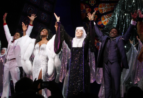 Chester Gregory, Patina Miller, Victoria Clark, Kingsley Leggs during  the Broadway Opening Night Curtain Call for 'Sister Act' in New York City. at SISTER ACT Opening Night Curtain Call