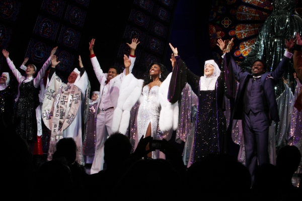 Audrie Neenan, Marla Mindelle, Fred Applegate, Chester Gregory, Patina Miller, Victoria Clark, Kingsley Leggs during  the Broadway Opening Night Curtain Call for 'Sister Act' in New York City.