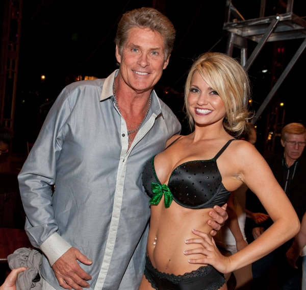 David Hasselhoff and Angel Porrino at Hasselhoff Visits ABSINTHE at Caesars Palace