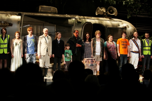 Sarah Moyle, Aimee-Flion Edwards, Mackenzie Crook, Alan David, Molly Ranson, Mark Page, Mark Rylance, Geraldine Hughes, Danny Kirrane, Charlotte Mills, John Gallagher, Max Baker & Richard Short during  the Broadway Opening Night Curtain Call for 'Jerusale