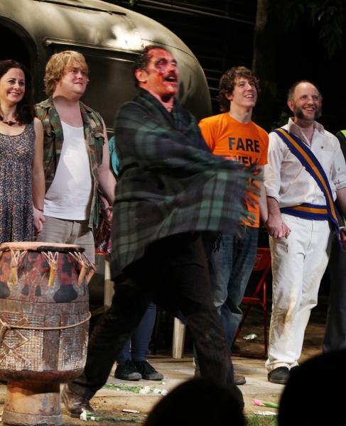Mark Rylance, Geraldine Hughes, Danny Kirrane, John Gallagher, Max Baker during  the Broadway Opening Night Curtain Call for 'Jerusalem' in New York City.