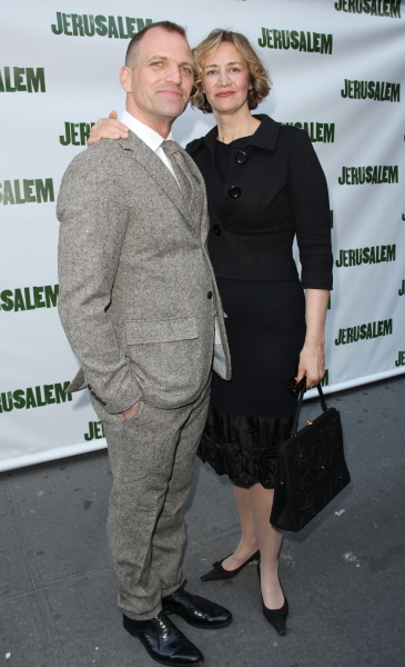 Joe Coleman and Janet McTeer attending the Broadway Opening Night Performance of 'Jerusalem' at the Music Box Theatre in New York City. at JERUSALEM Opening Night Red Carpet