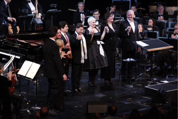 Steven Osgood, Kristin Chenoweth, Raul Esparza, Todd Wilander, Stephen Schwartz, Lauren Flanigan, Ann Hampton Callaway, and Victor Garber at Chenoweth, Esparza, Garber & More Honor Stephen Schwartz with the NYC Opera