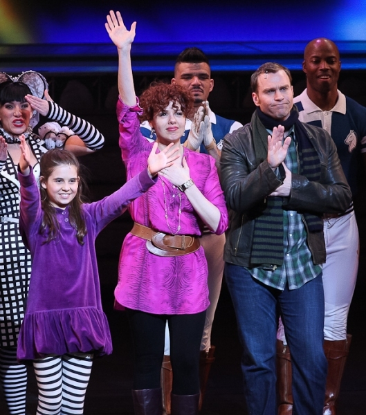 Carly Rose Sonenclar, Janet Dacal, Darren Ritchie and the cast of Wonderland. Photo  Photo