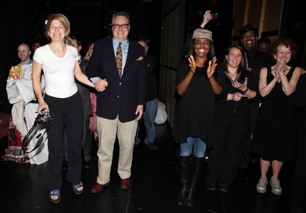 Victoria Clark, Douglas Carter Beane, Patina Miller, Sarah Bolt & Audrie Neenan attending the 'Sister Act'  Broadway Opening Night Performance Gypsy Robe Ceremony for recipient Kevin Ligon at the Broadway Theatre n New York City.