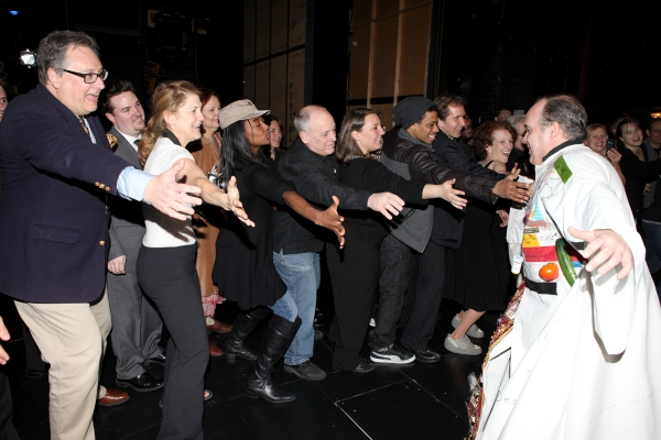 Kevin Ligon with Douglas Carter Beane, Victoria Clark, Patina Miller, Sarah Bolt, Chester Gregory & The Company attending the 'Sister Act'  Broadway Opening Night Performance Gypsy Robe Ceremony for recipient Kevin Ligon at the Broadway Theatre n New York at SISTER ACT's Gypsy Robe Ceremony