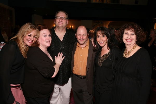 "NORTH HOLLYWOOD, CA - APRIL 23: (L-R) Cast members Deedee Rescher, Carole Ita White, Ron Orbach, Jason Alexander, Gina Hecht and Annie Korzen pose during the party for the opening night performance of ""The Prisoner of Second Avenue"" at the El Portal Thea"