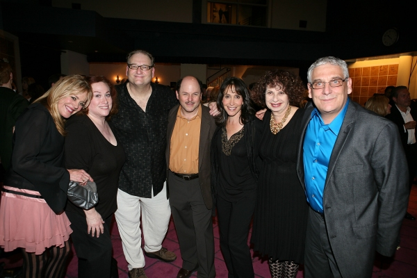 NORTH HOLLYWOOD, CA - APRIL 23: (L-R) Cast members Deedee Rescher, Carole Ita White, Ron Orbach, Jason Alexander, Gina Hecht, Annie Korzen and Director Glenn Casale pose during the party for the opening night performance of 'The Prisoner of Second Avenue at Opening Night of THE PRISONER OF SECOND AVENUE