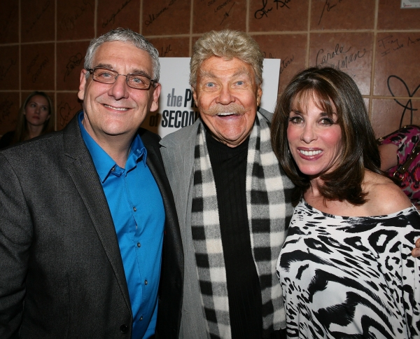"NORTH HOLLYWOOD, CA - APRIL 23: (L-R) Director Glenn Casale, actor Rip Taylor and actress Kate Linder pose during the party for the opening night performance of ""The Prisoner of Second Avenue"" at the El Portal Theatre on April 23, 2011 in North Hollywood"