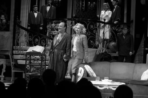 Jim Belushi & Nina Arianda during the Broadway Opening Night Performance Curtain Call for 'Born Yesterday' in New York City.