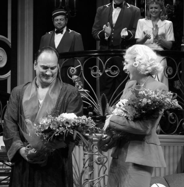Jim Belushi & Nina Arianda during the Broadway Opening Night Performance Curtain Call for 'Born Yesterday' in New York City.