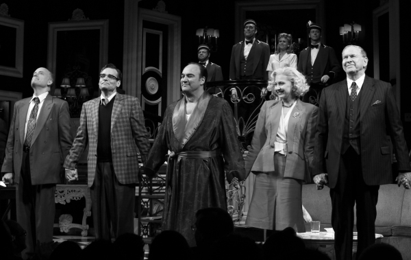 Frank Wood, Robert Sean Leonard, James Belushi, Nina Arianda & Terry Beaver during the Broadway Opening Night Performance Curtain Call for 'Born Yesterday' in New York City.