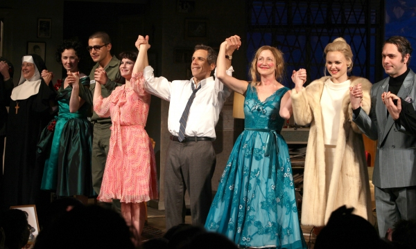 Mary Beth Hurt, Halley Feiffer, Christopher Abbott, Jennifer Jason Leigh, Ben Stiller, Edie Falco, Alison Pill & Thomas Sadoski during the Broadway Opening Night Curtain Call for The House Of Blue Leaves' in New York City. at THE HOUSE OF BLUE LEAVES Curtain Call
