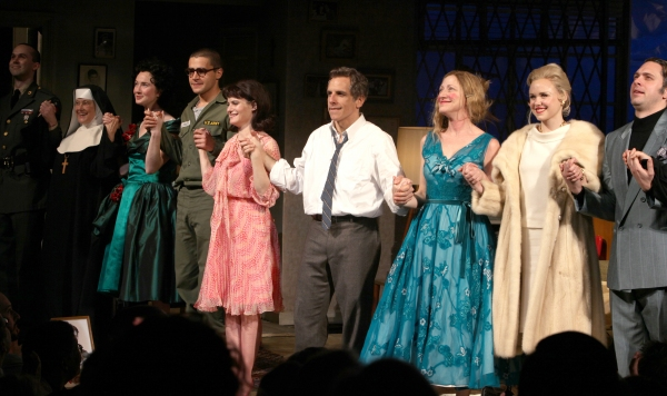 Jimmy Davis, Mary Beth Hurt, Halley Feiffer, Christopher Abbott, Jennifer Jason Leigh, Ben Stiller, Edie Falco, Alison Pill & Thomas Sadoski during the Broadway Opening Night Curtain Call for The House Of Blue Leaves' in New York City.