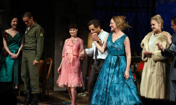 Mary Beth Hurt, Halley Feiffer, Christopher Abbott, Jennifer Jason Leigh, Ben Stiller, Edie Falco, Alison Pill & Thomas Sadoski during the Broadway Opening Night Curtain Call for The House Of Blue Leaves' in New York City.