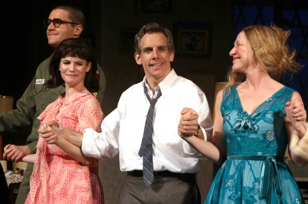 Christopher Abbott, Jennifer Jason Leigh, Ben Stiller, Edie Falco during the Broadway Opening Night Curtain Call for The House Of Blue Leaves' in New York City. at THE HOUSE OF BLUE LEAVES Curtain Call