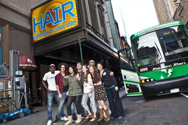 Darius Nichols, John Moauro, Tanesha Ross, Josh Lamon, Laura Dreyfuss, Corey Bradley, Christine Nolan, Emmy Raver-Lampman and Mike Evariste at HAIR Returns to the St. James Theatre on Tour!