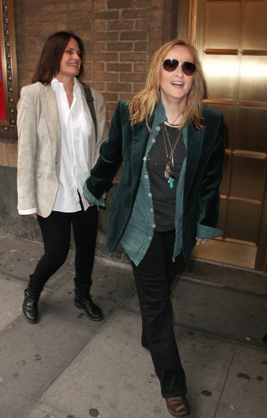 Linda Wallem & Melissa Etheridge attending the Broadway Opening Night Performance of 'The House Of Blue Leaves' at the Walter Kerr Theatre in New York City. at THE HOUSE OF BLUE LEAVES Opening Theatre Arrivals