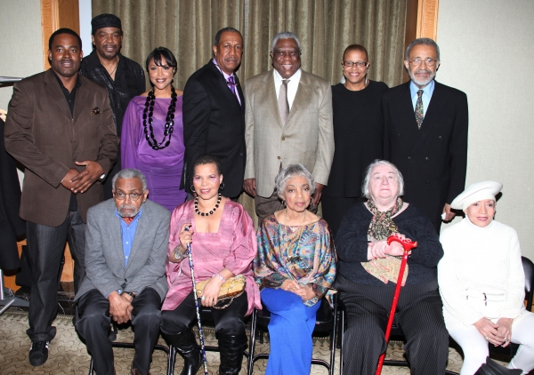 Standing: Lamman Rucker, Imohotep Gary Bird, Lynn Whitfield, George Faison, Woodie King Jr, Terrie Williams, John Morning  attending the New Federal Theatre Press Conference at Trump Place, New York City.