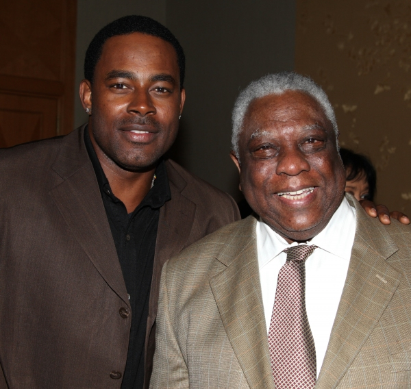 George Faison & Woodie King Jr. attending the New Federal Theatre Press Conference at Trump Place, New York City.