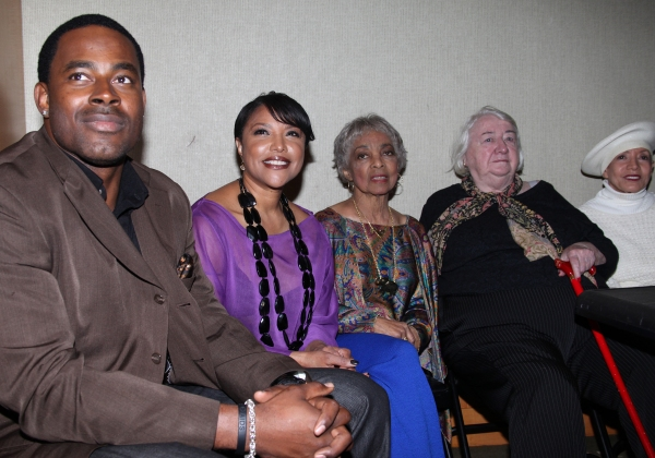 Lamman Rucker, Lynn Whitfield, Ruby Dee, Elizabeth I. McCann, Carla Pinza attending the New Federal Theatre Press Conference at Trump Place, New York City.