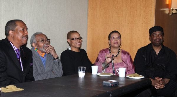 George Faison, Amiti Baraka, Terrie Williams, Ntozake Shange & Imohotep Gary Bird attending the New Federal Theatre Press Conference at Trump Place, New York City. at New Federal Theatre Honors Poitier, Keys et al. Press Reception