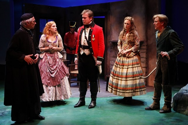 Geddeth Smith (Father Dolan), Katie Fabel (Arte O'Neal), Mark Shanahan (Captain Harry Molineux), Allison Jean White (Claire Ffolliott) and Patrick Fitzgerald (Conn, The Shaughraun); (pictured, background): Jake Zachry  at Irish Rep Presents THE SHAUGHRAUN