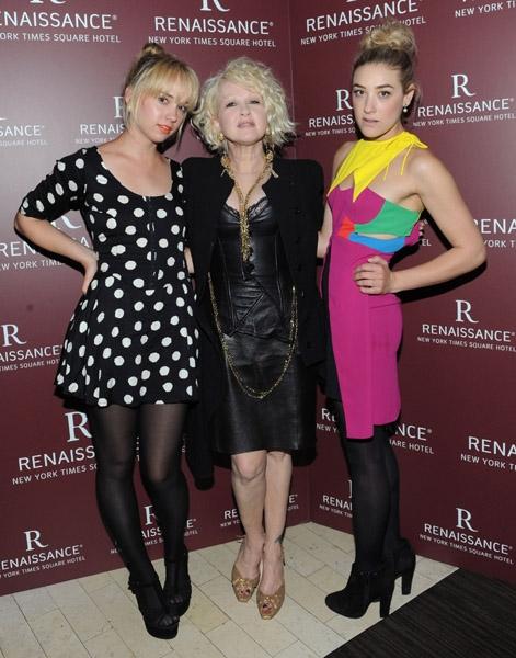 Caitlin Moe,  Cyndi Lauper and DJ Mia Moretti