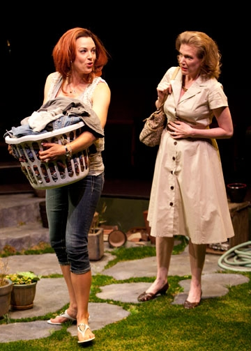 (from left) Dana Green as Tamsin and Henny Russell as Kathryn at The Old Globe's LIFE OF RILEY in Performance