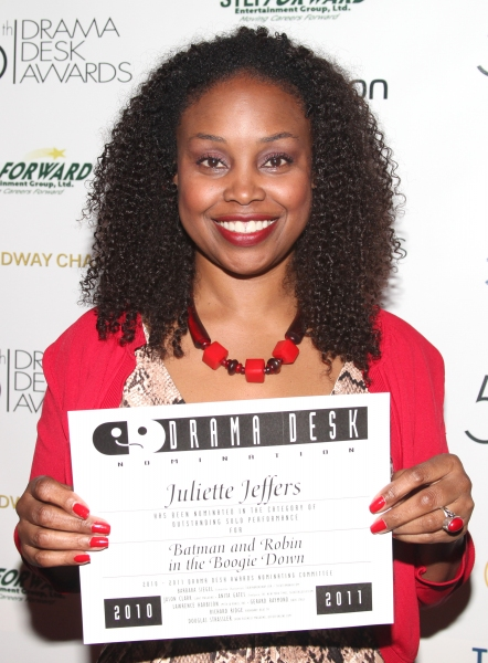 Juliette Jeffers attending the 56th Annual Drama Desk Award Nominees Reception at Bombay Palace in New York City.