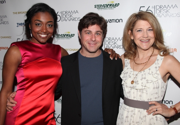 Victoria Clark, Glenn Slater and Patina Miller  attending the 56th Annual Drama Desk Award Nominees Reception at Bombay Palace in New York City.