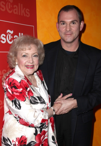 Frank Bruni & Betty White attending the Times Talks with Betty White & Michael Stipe at Times Center in New York City.