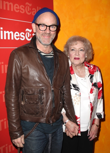Michael Stipe & Betty White attending the Times Talks with Betty White & Michael Stipe at Times Center in New York City.