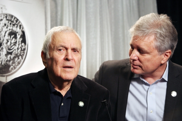 John Kander & David Thompson attending the 65th Annual Tony Awards Meet The Nominees Press Reception at the Millennium Hotel in New York City. © Walter McBride / WM Photography / Retna Ltd.