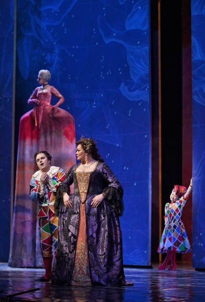 Vasili Ladyuk as Harlequin, Violeta Urmana as Ariadne, and Kathleen Kim as Zerbin