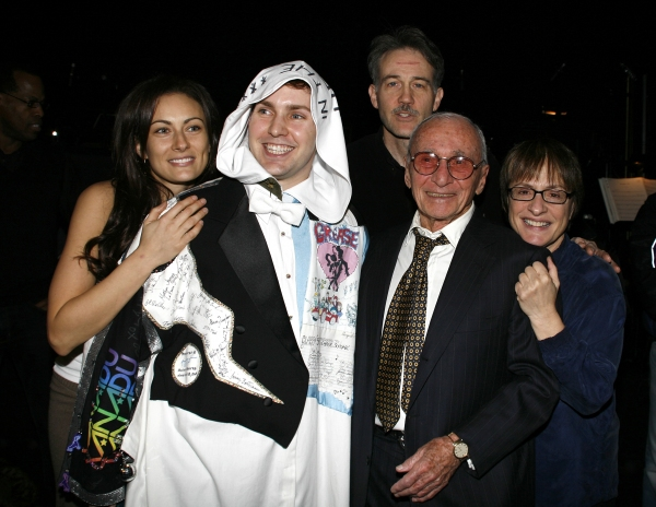 Laura Benanti, Steve Konopelski (Gypsy Robe Winner), Boyd Gaines, Arthur Laurents (Director) & Patti Lupone attending the Broadway Opening Night Gypsy Robe Ceremony for GYPSY at the St. James Theatre in New York City.