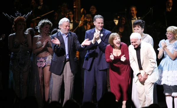 "Arthur Laurents & Stephen Sondheim with Patti Lupone, Laura Benanti, Boyd Gaines  & the cast ensemble at the Opening Night Curtain Call for the Summer Stars -  Encores! ""Gypsy"" Opening Night at City Center at NY City Center in New York City."