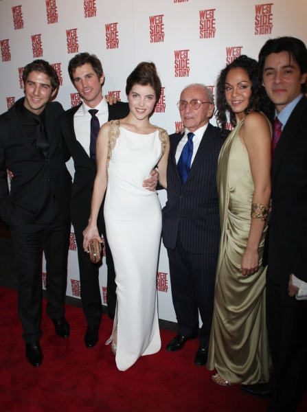 Cody Green, Matt Cavenaugh, Josefina Scallione, Arthur Laurents, Karen Olivo & George Akram attending the Opening Night Performance After Party for WEST SIDE STORY at Pier Sixty at Chelsea Piers in New York City