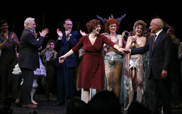 Stephen Sondheim & Boyd Gaines & Patti Lupone & Laura Benanti & Arthur Laurents during the Broadway Opening Night Performance Curtain Call for GYPSY at the St. James Theatre in New York City.