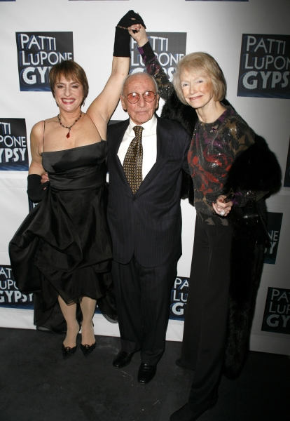 Patti LuPone, director Arthur Laurents and Margaret Styne  attending the Broadway Opening Night After Party for GYPSY at The Mansion in New York City.