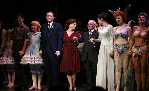 Katie Micha, Tony Yazbeck, Leigh Ann Larkin, Boyd Gaines, Patti LuPone, Arthur Laurents, Laura Benanti, Marilyn Caskey, Alison Fraser, Lenora Nemetz during the Broadway Opening Night Performance Curtain Call for GYPSY at the St. James Theatre in New York  at Remembering Arthur Laurents