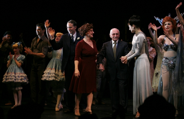 Katie Micha, Tony Yazbeck, Leigh Ann Larkin, Boyd Gaines, Patti LuPone, Arthur Laurents, Laura Benanti, Marilyn Caskey, Alison Fraser, Lenora Nemetz during the Broadway Opening Night Performance Curtain Call for GYPSY at the St. James Theatre in New York