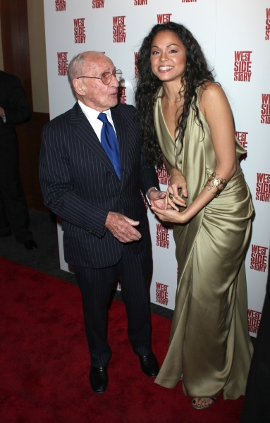 Karen Olivo & Arthur Laurents attending the Opening Night Performance After Party for WEST SIDE STORY at Pier Sixty at Chelsea Piers in New York City.