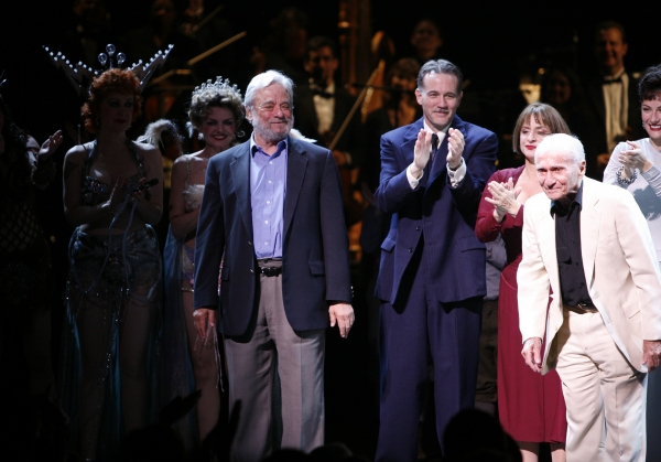 Arthur Laurents & Stephen Sondheim with Patti Lupone & the cast at the Opening Night Curtain Call for the Summer Stars -  Encores! 'Gypsy' Opening Night at City Center at NY City Center in New York City. at Remembering Arthur Laurents