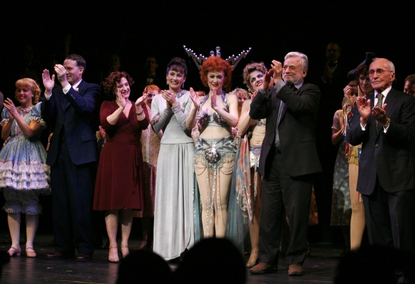 Stephen Sondheim & Arthur Laurents & the Cast during the Broadway Opening Night Performance Curtain Call for GYPSY at the St. James Theatre in New York City.  at Remembering Arthur Laurents