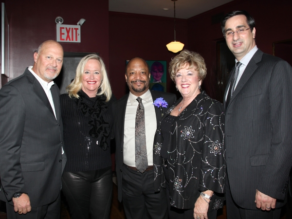 (l-R) Stephen Eich, Shelia Grether-Marion, Sheldon Epps, Michele Dedeaux Engemann & David DiCristofaro attending the Pasadena Playhouse Pre-Broadway Opening Night Reception for 'Baby It's You!' at Angus Restaurant in New York City.