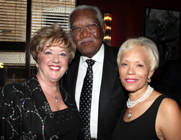 Michele Dedeaux Engemann with Bill & Brenda Galloway attending the Pasadena Playhouse Pre-Broadway Opening Night Reception for 'Baby It's You!' at Angus Restaurant in New York City.