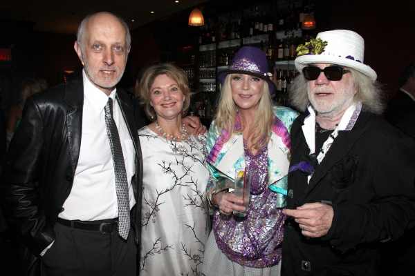 Co-Bookwriter Colin Escott & wife with Brigitte Mutrux & Floyd Mutrux attending the Pasadena Playhouse Pre-Broadway Opening Night Reception for 'Baby It's You!' at Angus Restaurant in New York City.